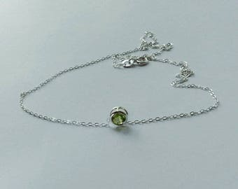 Peridot Necklace, Peridot, August Birthday Gift, Sterling Silver Necklace, Gemstone Slider Necklace, Layering Necklace, Silver Chain