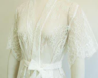 Delicate Flutter sleeve Glitter Lace Sheer Boudoir Kimono Robe Off white ivory XS S