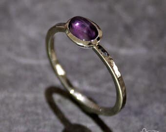 White gold ring with amethyst