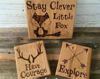 Woodland animals, Woodland nursery decor, Woodland friends, Fox nursery, Fox nursery art, Woodland nursery, Stay clever little fox signs