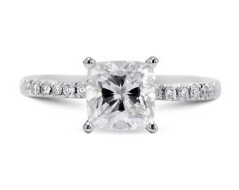 Diamond Engagement Ring 14K White Gold 1.36 Carat Radiant Cut FREE SHIPPING
