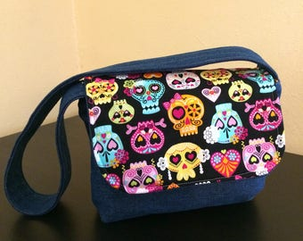 Kids messenger bag,kids sugar skull bag,denim bag
