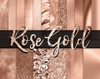 Rose Gold Digital Paper -  rose gold foil, rose gold glitter, gold foil, fashion, planner digital paper, gold backgrounds, gold metallic