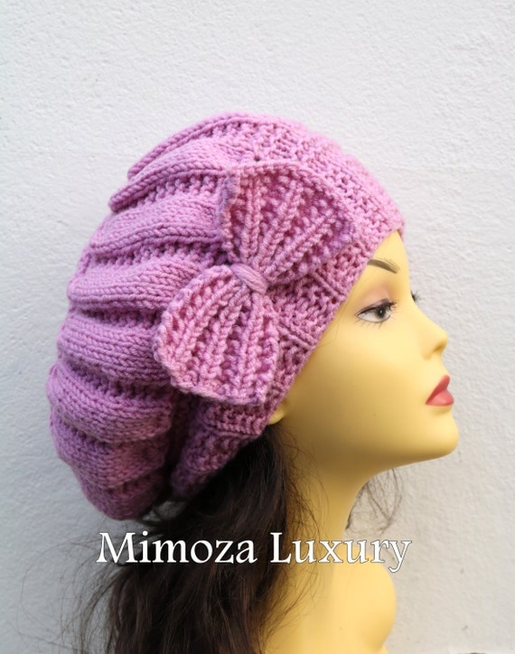 Pink Woman Hand Knitted Hat with Bow, Beret hat with bow, Pink knit hat, slouchy knit women's hat with bow, pink winter hat, pink women hat