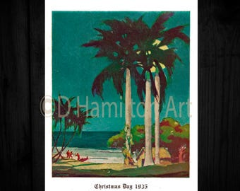 Digital Download Vintage Print Hawiian Beach Print, Hawaiian Print 1935 by Alexander Samuel MacLeod, Christmas Day 1935 Hawaiian Beach Print