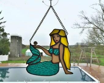 Handmade Stained Glass Mermaid Suncatcher