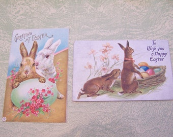 Two antique Easter bunny rabbit eggs greetings postcards 1918 1908