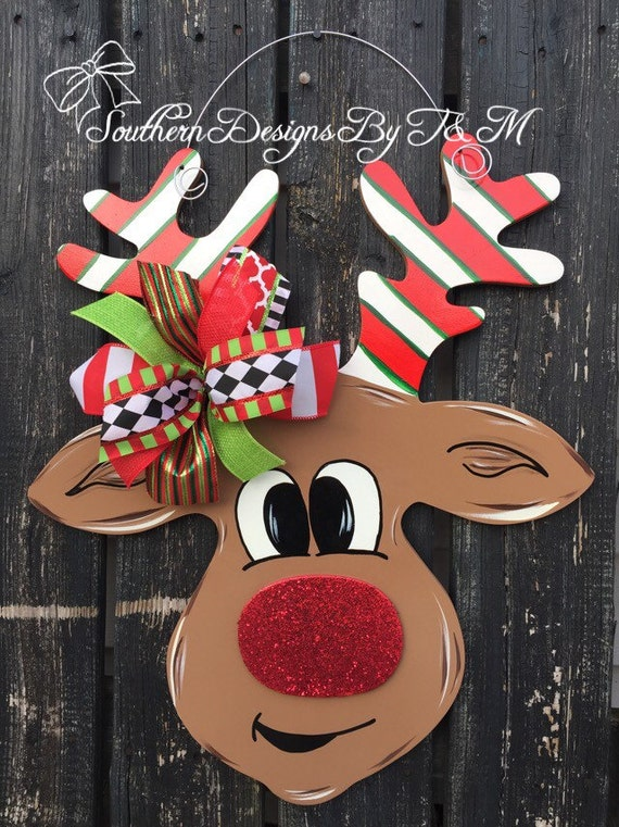 Rudolph Door Hanger Christmas Door Hanger Wooden Door Hanger