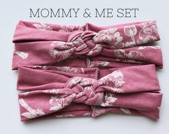 Antique Pink : Mommy & Me set - Sailors Knot headbands