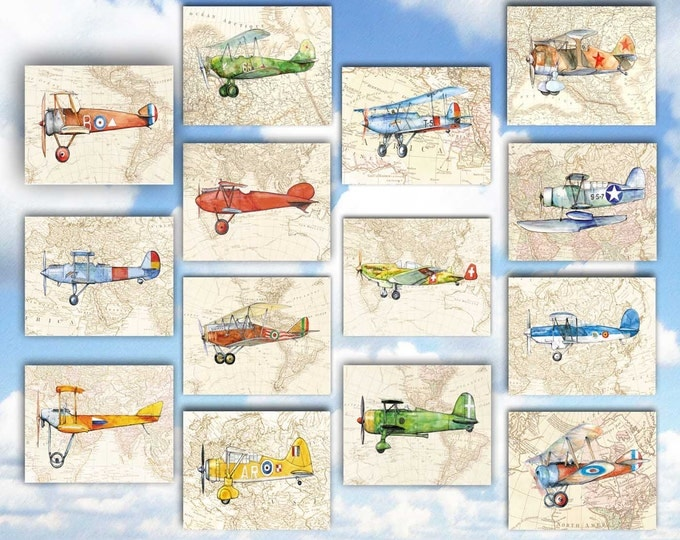 Airplane old map decor Set of 14 prints Military aircraft on vintage World's map Airplane poster Boys nursery wall decor Transportation art