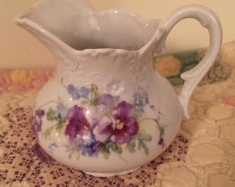 Vintage Floral Flower Pansy Forget Me Nots Ornate Creamer Cream Pitcher