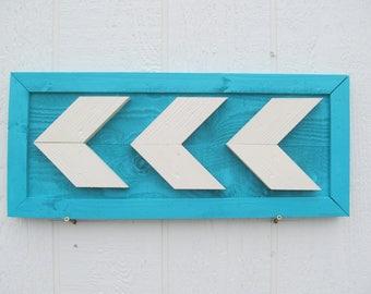 Arrow Chevron Wall Art ~ Wood Painted In Aqua & White