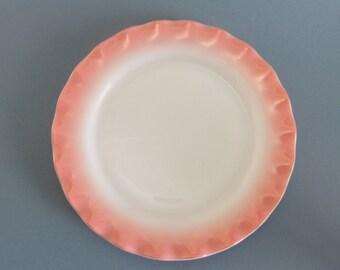 Hazel Atlas Pink Crinoline Dessert Plates Set of 2 Vintage Kitchen Retro Kitchen 1950 Ruffle Petticoat Ripple Pink Wedding Plates Milk Glass