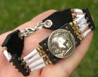 Buffalo Indain Nickel coins  bracelet dentalium shell Buffalo leather bone  tribal western cowgirl musician nice gift for Buffalo Bills fans