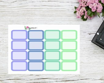 Planner stickers basic half boxes in green and blue