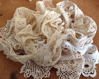 Lot of Odds And Ends of Handmade Lace and Trim