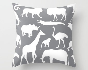 Safari Animals Pillow With Insert - African Animals Pillow Cover - Safari Decor - Grey Pillow Cover - Boy Bedroom Decor - Accent Pillow