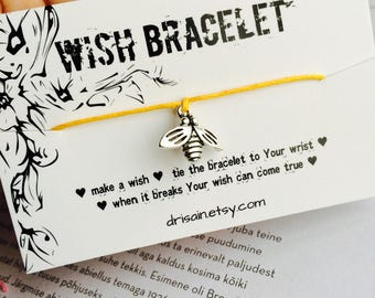 Bee wish bracelet, Friendship bracelets, Bee bracelet, Bee charm bracelets, cotton cord bracelet, string bracelets
