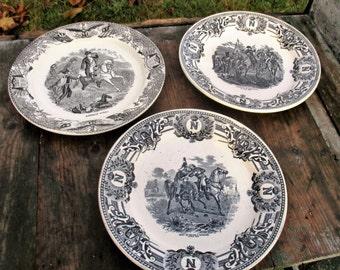 Vintage Antique Set of 3 Collector Cabinet Plates Napoleon Bonaparte Black White