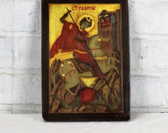 Religious Romanian Icon Saint George slaying the Dragon Painted on Wood