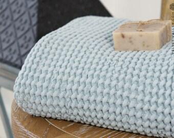 SALE-Linen cotton dusty blue bath towel- Waffle textured ice blue linen towel- Softened linen washcloth- Beach towel-Travel towel