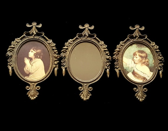 vintage trio of brass mini frames made in italy tiny frames wall decor italian florentine cherubs flowers children midcentury mcm hollywood