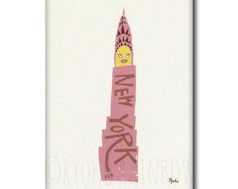 Chrysler building NY, Retro color NY, New York art print, Pop art landmark, Illustration NY