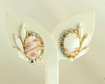 White Cabochon Spray Earrings