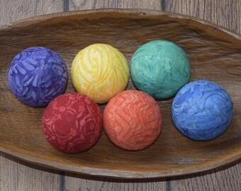 Rainbow Bright Batik Decorative Balls, Fabric Rag Balls, Fabric Chotchkies, fabric balls, rag balls, bowl & vase fillers-6  3 inch balls