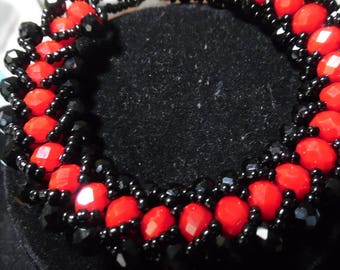 Black and Red Crystal Caterpillar Bracelet