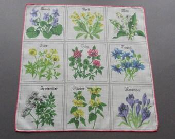 Seasonal Flowers - Vintage Cotton Hankie Handkerchief