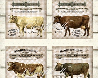 4x4 inch Vintage Rustic Dairy Cow Squares Instant Digital Download Printable Farm Style Coaster Label Graphic Transfers Image 0768