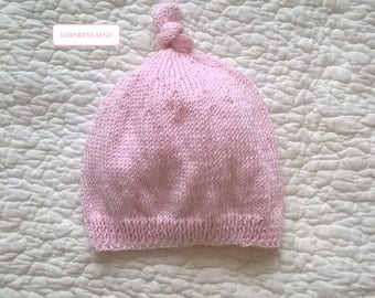 Small hat size newborn to 1 month baby pink cotton baby