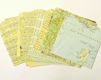 Mixed paper scrap pack: 30 assorted 4 inch square papers from vintage books, maps. Ephemera for scrapbooks, art journal, collage PG146