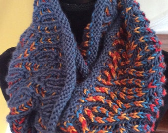Hand knit infinity scarf, brioche ready to ship