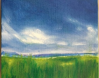 Little Summer Field, Oil, 4x4""