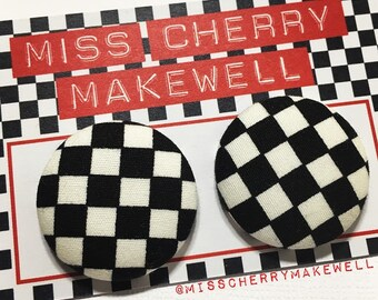 Black & White Ska Checkerboard Fabric Button Rockabilly Punk 1950's 1960's Pin Up Vintage Inspired Stud Earrings By Miss Cherry Makewell