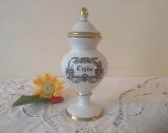 """CIGUE, FANTASTIC 8"""", French Apothecary / Pharmacy Porcelain Pot Jar, Cigue, Limoges Porcelain, Beautiful Condition!"""