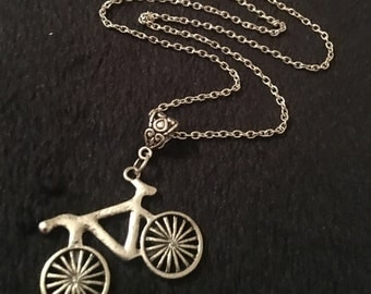 """80p UK P&P Handmade Bicycle charm Necklace on 24"""" chain silver cycling cyclist bmx ride beach cruise travel *UK SELLER*"""