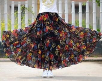 black skirt,maxi floral skirt,chiffon skirt,long summer skirt,chiffon maxi skirt,full skirt,long skirt,black maxi skirt