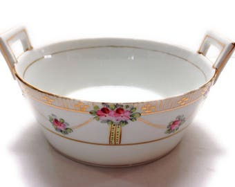 Antique 2 Part Hand Painted Butter Tub With Tub Insert For Ice Nippon