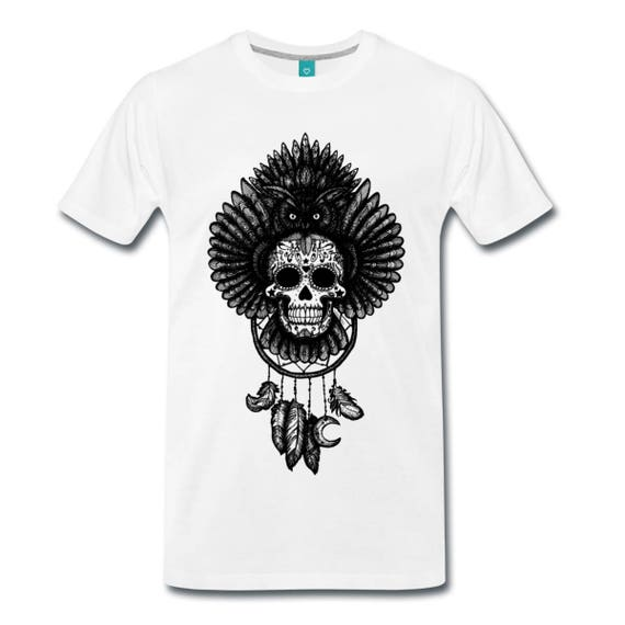Dreamcatcher Owl Sugar Skull Totem Illustrated Men's Ethically Produced Cotton T-Shirt *Grey, Black Or White* Sizes S-5XL. Plus Sizes.
