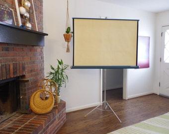 vintage projector screen / folding projector screen / vintage knox 400 projector screen / vintage movie screen / tripod movie screen
