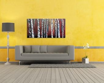 Abstract Tree Painting, Original Birch Tree Painting, Textured Birch Tree Painting, Abstract Birch Trees, Acrylic Painting, Tree Painting