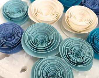 Handmade spiral roses, blue and white mix, crafting paper flowers, set of 12