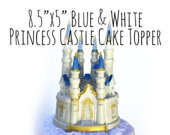 Cinderella Castle Cake Topper, Blue and White Fairytale Castle Cake Topper, Quinceanera Cake Topper, Fairytale Princess Wedding Cake Topper