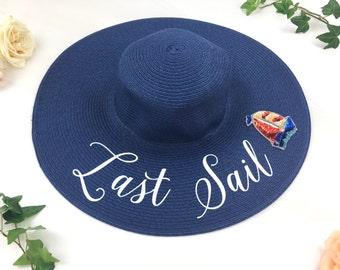 Last Sail Hat - Floppy Sun Hat - Sequin Sun Hat - Bride Hat - Custom floppy hat- Beach Bride - Just Married Hat - Last Sail before the Veil