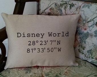 Disney world etsy latitude longitude disney world pillow embroidered sciox Image collections