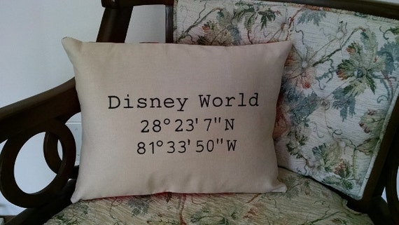 Latitude longitude disney world pillow embroidered like this item sciox Image collections