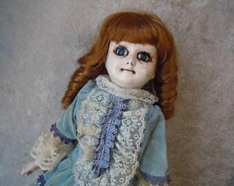 Doll in Fancy Blue Velvet Dress #95 Day of the Dollies